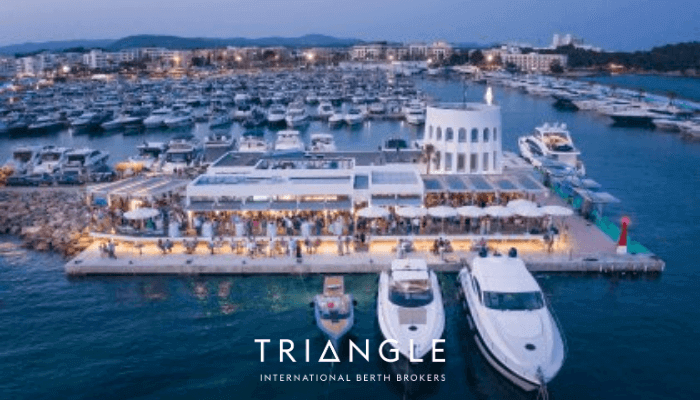 Santa Eulalia yachts and restaurants at dusk