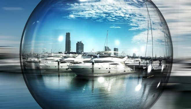 bubble with marina and boat inside
