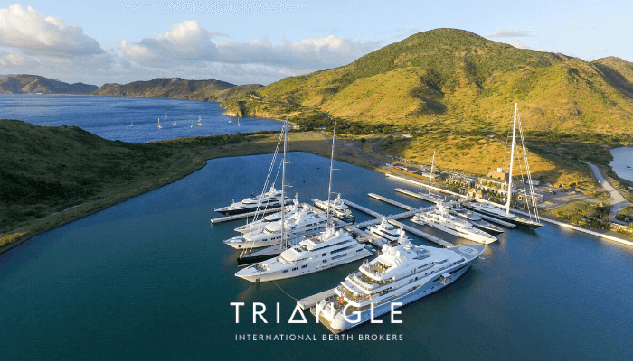 Christophe Harbour St Kitts superyachts in their berths