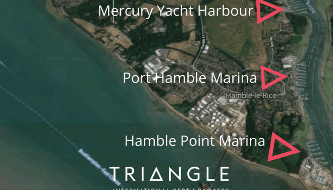A overview showing the location of Mercury Yacht Harbour, Port Hamble and Hamble Point Marina